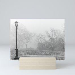 Lamp Post in the fog Mini Art Print