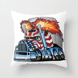 Patriotic American Flag Semi Truck Tractor Trailer Big Rig Cartoon Throw Pillow