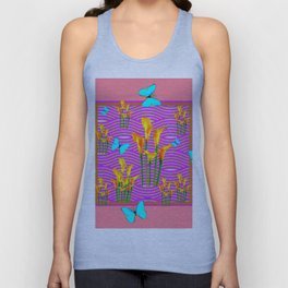Pink Coral-Purple Blue Butterfly Lily Art Unisex Tank Top