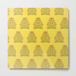 Indian Floral Motif Pattern - Pink & Illuminating Yellow Metal Print