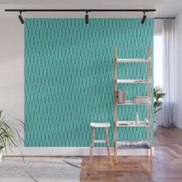 Spells - Geometric Lines Pattern (Turquoise) Wall Mural