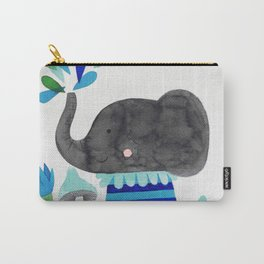 elephant with raindrops in blue watercolor illustration Carry-All Pouch