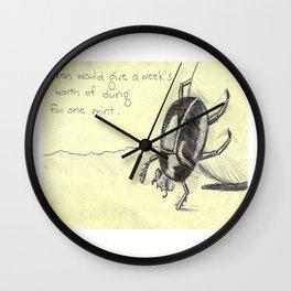 Dung Beetle Mint Wall Clock