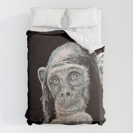 a Jane Goodall quote - black Comforters