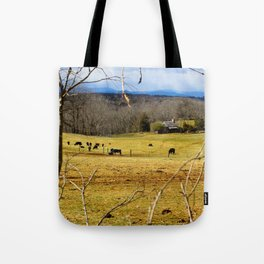 Cattle ranch overlooking the Blue Ridge Mountains Tote Bag
