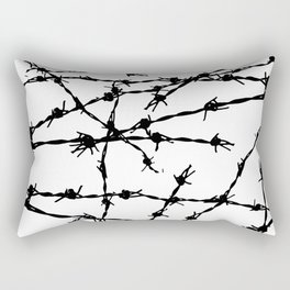 Black and White Barbed Wire Rectangular Pillow