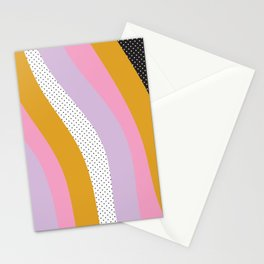 Abstract Print - Mixed Colors and Patterns Wavy Lines Stationery Cards