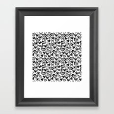 MESSY HEARTS: BLACK Framed Art Print