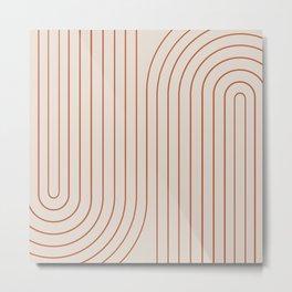 Minimal Line Curvature - Coral II Metal Print