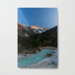 Magical sunset over the mountains and river Metal Print