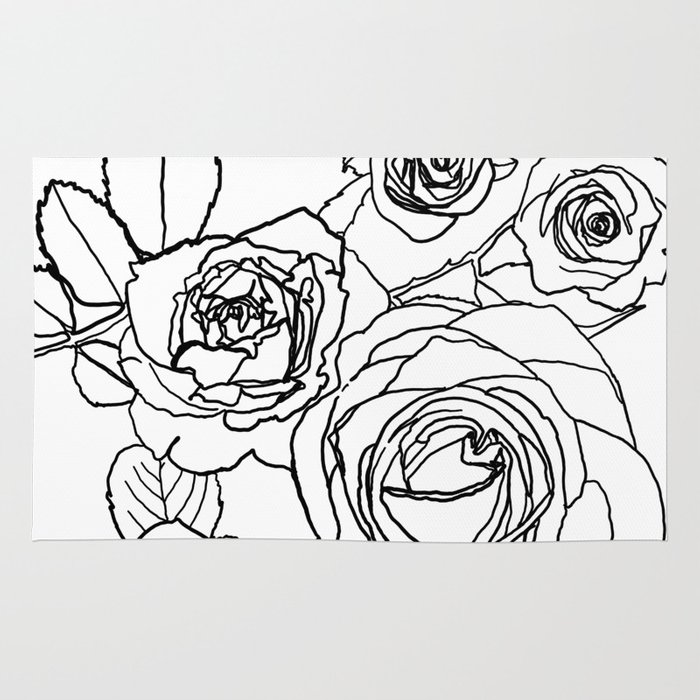 Feminine and Romantic Rose Pattern Line Work Illustration Rug by raylie  df84740af23fc