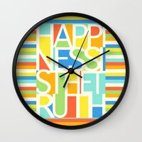 happiness Wall Clocks featuring Happiness by Jacqueline Maldonado