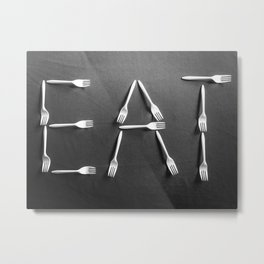 EAT alphabet with plastic forks in black and white Metal Print