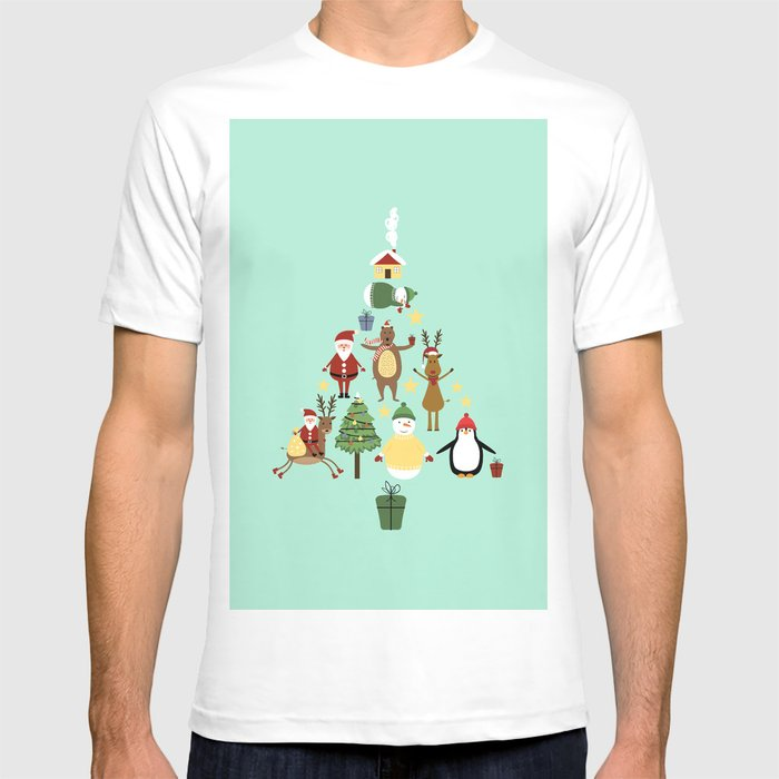 Christmas tree with reindeer, Santa Claus and bear T-shirt