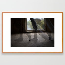 """She sifts through the spaces in this foreign place."" Framed Art Print"