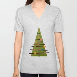 Mid Century Christmas Tree Art Unisex V-Neck