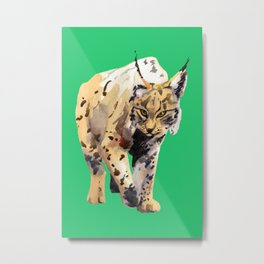 Watercolor Lynx on an emerald paper textured background - painting - nature - wildlife - large cat Metal Print