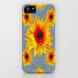 Baby Blue Golden Sunflowers Web Design Art iPhone Case