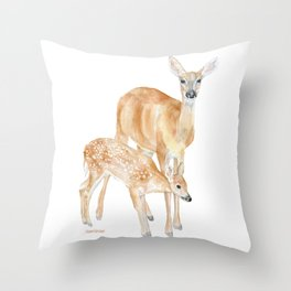 Mother and Baby Deer Watercolor Throw Pillow
