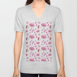 Sweet girly pink watercolor bear funfair pattern Unisex V-Neck