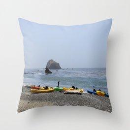 Canoes At Bodega Bay Throw Pillow