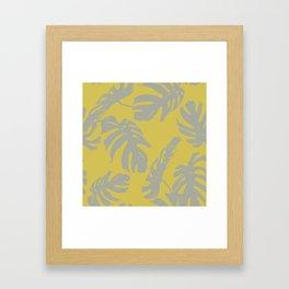 Palm Leaves Retro Gray on Mod Yellow Framed Art Print