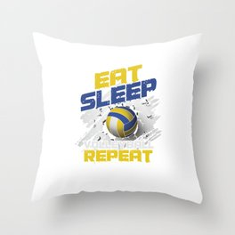 Volleyball Team Ball Game Spiking Action Sports Eat Sleep Volleyball Repeat Gift Throw Pillow