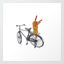 Watercolor Illustration of Traditional Chinese Snack - Candy Tanghulu on Bicycle   冰糖葫芦 Art Print