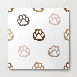 Cat hand print brown paw print for fabric design vector pattern Metal Print
