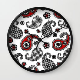 Paisley Pattern, Black, White, Gray and Red Wall Clock