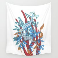 dragons Wall Tapestries featuring Sea Dragons by MadameAce