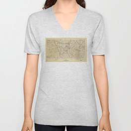 World War I German Army Positions Map (circa 1918) Unisex V-Neck