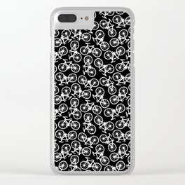 Bicycles Doodle on Black Clear iPhone Case