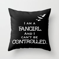 fangirl Throw Pillows featuring Uncontrollable Fangirl by Oh the Book Feels!