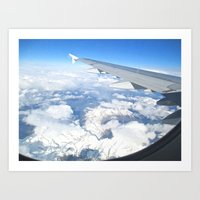 Snowy Mountains Through Airplane Window Art Print