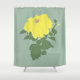 Yellow Dahlia Flower Illustrated Print Shower Curtain