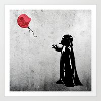 banksy Art Prints featuring Little Vader - Inspired by Banksy by kamonkey