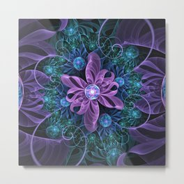 Bejeweled Butterfly Lily of Ultra-Violet Turquoise Metal Print