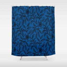 Vintage Lace Floral Lapis Blue Shower Curtain
