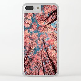 Upward Glance Living Coral Trees Blue Sky Clear iPhone Case
