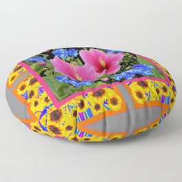 GREY PINK TROPICAL HIBISCUS BLUE-YELLOW FLOWERS Floor Pillow