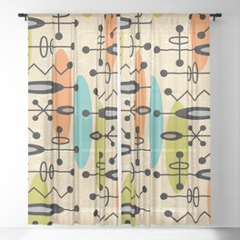 Mid Century Modern Radioactive Surfer 271 Sheer Curtain