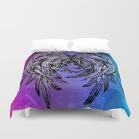angel wings Duvet Covers featuring Galaxy Angel Wings by Mad Love