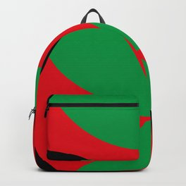 A beautiful martian green and red flower, coming out from a round horizon. Backpack