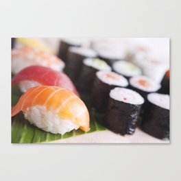 Close-up of various Japanese sushi, shallow depth of field Canvas Print