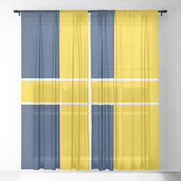 TEAM COLORS 6....navy , gold Sheer Curtain