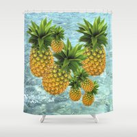 pineapples Shower Curtains featuring Pineapples by Erika Kaisersot