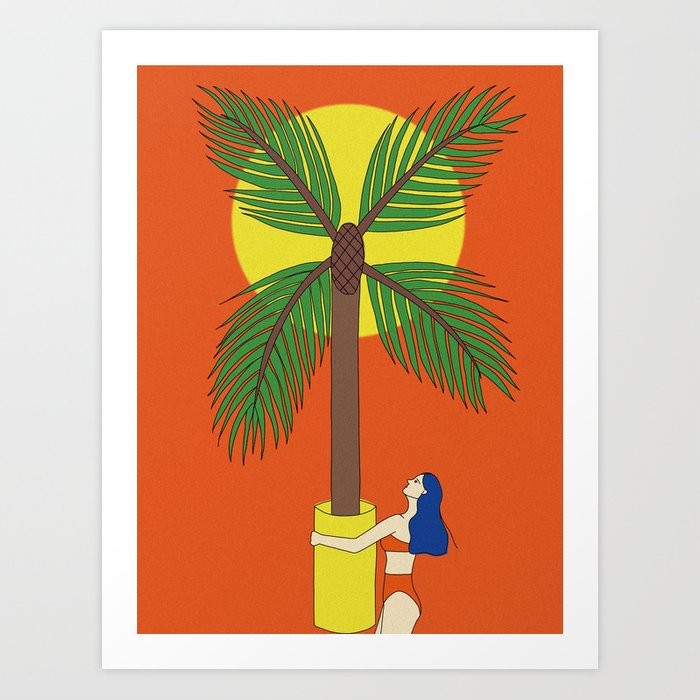 Palm Tree Vase Take You Home Art Print By Danahong Society6