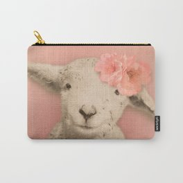 Flower Sheep Girl Portrait, Dusty Flamingo Pink Background Carry-All Pouch