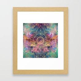 Gold watercolor and nebula mandala Framed Art Print